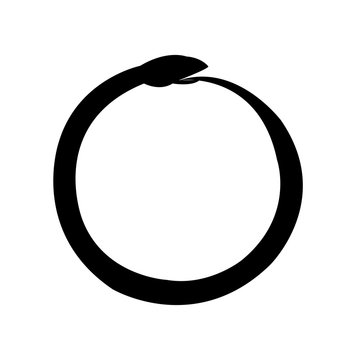 Ouroboros, ancient symbol snake eating its own tail alchemy, isolated on white background