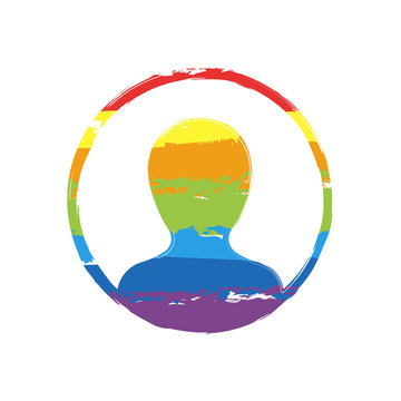 Profile, person in circle. Drawing sign with LGBT style, seven colors of rainbow (red, orange, yellow, green, blue, indigo, violet