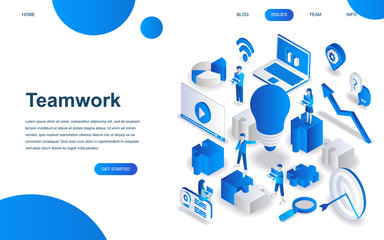 Modern isometric design concept of Teamwork for website and mobile website development. Isometric landing page template. Business management, online communication and finance. Vector illustration.