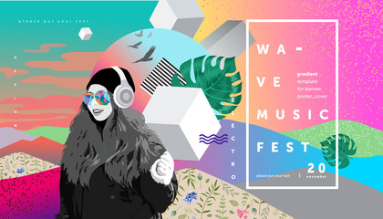 Colorful abstract  poster and cover design, electronic music festival banner with abstract gradient, vector psychedelic background for  flyer or brochure, illustration of a girl who listen to music