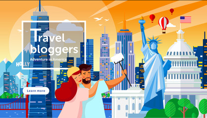 Happy bloggers are photographed, do selfie and travel, vector illustration of a family walking through the streets of American cities and attractions