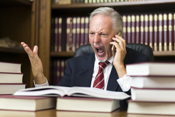 Angry businessman yelling on the cellphone while reading a book