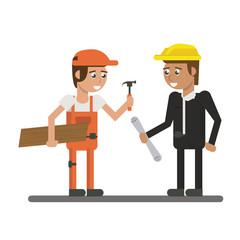 Constuction workers geometric cartoons