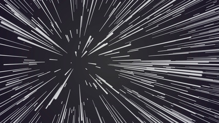Abstract speed background. Centric motion of star trails. 3D rendering. Starburst dynamic lines or rays. Abstract particles Fototapete