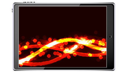 Black smart tablet smartphone with touchscreen, modern realistic mobile device with abstract magic energy splash, wallpaper isolated on white background. Vector illustration