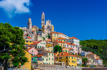 View of Cervo in the province of Imperia, Liguria, Italy