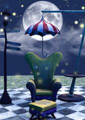 A close-up dark fairytale scene of a couch, umbrella, and a lamp.