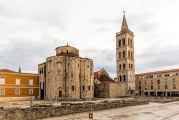 9th century church of St Donatus on the left and the bell tower of the Zadar Cathedral on the right in Zadar, Croatia