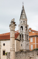 Bell tower of the St Elias's Church in Zadar, Croatia. This is the city's Orthodox church, built in the late Baroque style at the end of the 18th century.