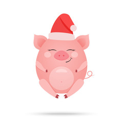Cartoon illustration of cute amused pig