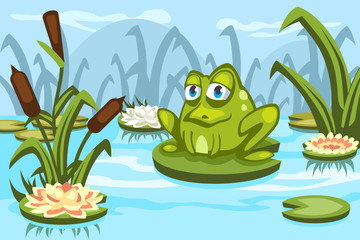 Illustration of a cartoon frog sitting on a water lily in the swamp