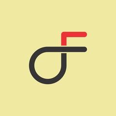 df logo, OF logo letter design