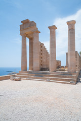Lindos Acropolis. Ancient clifftop ruins. Remains of a Doric Temple of Athena Lindia, dating from about 300 BC. Greek Island of Rhodes, Rodos.