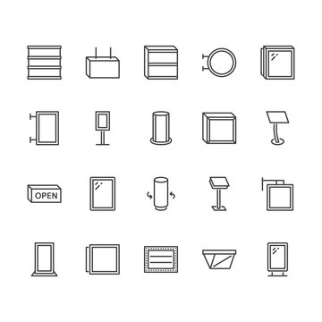 Light box flat line icons. Hanging signboard, retro lightbox, outdoor banner, shop advertising vector illustrations. Thin signs of street ads. Pixel perfect 64x64. Editable Strokes.