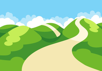 Cartoon illustration of spring landscape with blue sky and green hills Wall mural