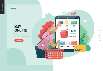 Business series, color 1 -buy online shop -modern flat vector illustration concept of woman shopping online holding basket. Website interaction -purchase process. Creative landing page design template