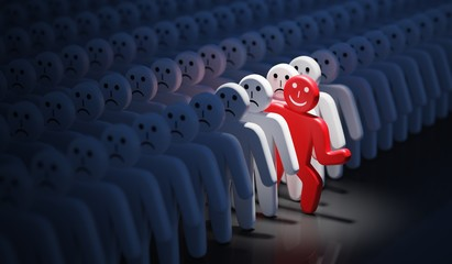 One happy man is out of crowd of many sad people. 3D rendered illustration
