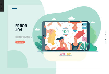 Business series, color 1- error 404 -modern flat vector concept illustration of page Error 404 - puzzled people on the tablet screen. Page not found metaphor Creative landing page design template