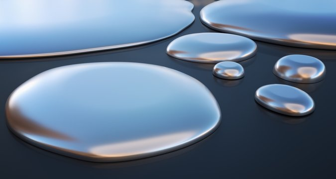Droplets of liquid metal - mercury. 3D rendered illustration.