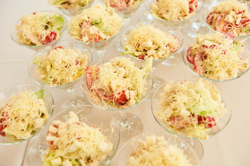 catering services with snacks table in the restaurant at the event party