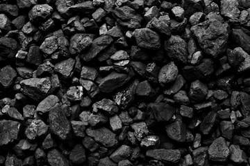A heap of black natural coal background