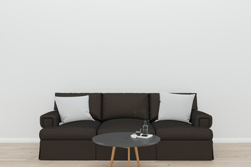 wall sofa and wall living room interior 3d rendering Background mock up