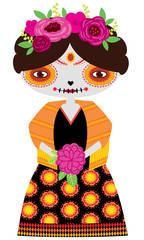 Vector orange catrina doll holding flower bouquet on a white background. Inspired by day of the dead and perfect for halloween