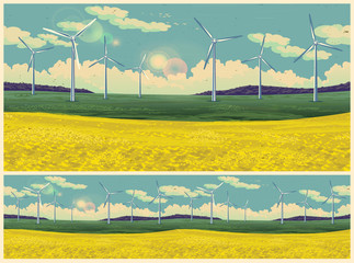 Field and wind generators retro poster
