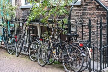 Alte Fahrräder angelehnt an geschmiedeten Eisenzaun, dahinter eine backsteinziegel Häuserfront