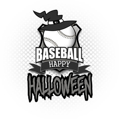 Baseball ball with witch hat and happy Hallowen