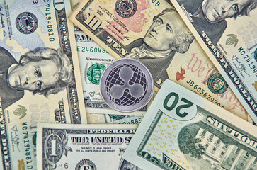 Ripple XRP crypto currency coin and dollars