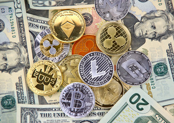 crypto currency coins and dollars