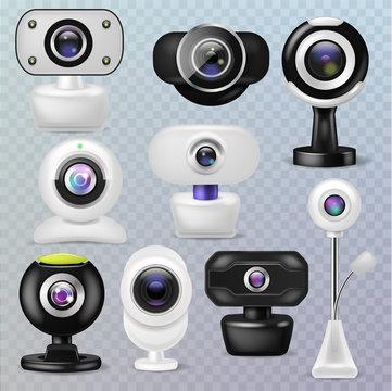 Web camera vector webcam digital technology internet communication device illustration set of business conference connection gadget on transparent background
