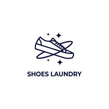 Galaxy shoe laundry clean and care logo icon symbol monoline line illustration style