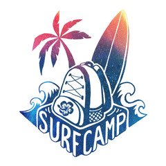Colored vector surfing camp logo template with waves, surf board, palm tree and backpack on hand drawn lettering