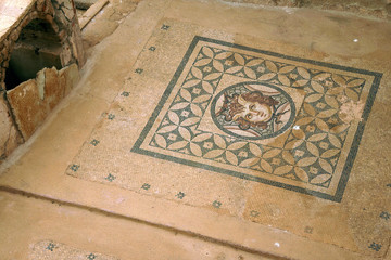 Fotobehang Oude gebouw Excavations by archaeologists have revealed beauttiful mosaic floors