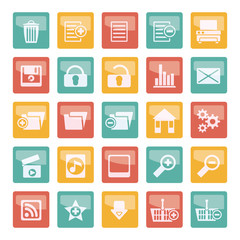 Detailed Internet Icons over colored background - Vector Icon Set