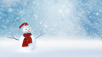Winter background with a snowman, snow and snowflakes 3d render 3d illustration