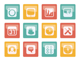 Mobile Phone and Computer icons  over colored background - Vector Icon Set
