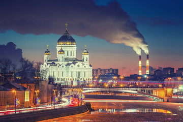 Wall Mural - Sunset over Moscow river, Moscow