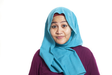 Asian Muslim Woman Smilling Happily