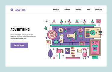 Vector web site linear art design template. Digital advertising and online marketing. Landing page concepts for website and mobile development. Modern flat illustration.