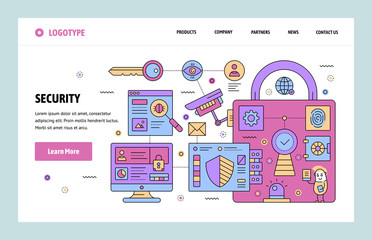Vector web site linear art design template. Cyber security and surveillance. Landing page concepts for website and mobile development. Modern flat illustration