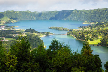 Lagoa Verde and Lagoa Azul, lakes in Sete Cidades volcanic craters on San Miguel island, Azores, Portugal. .