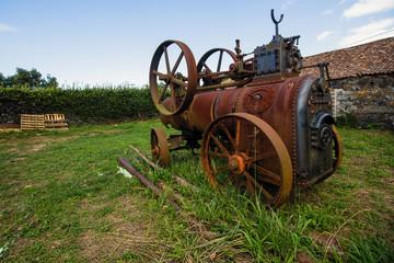 Vintage machine is in the village. Steampunk.