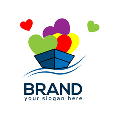 Boat and love logo template, vector icon.