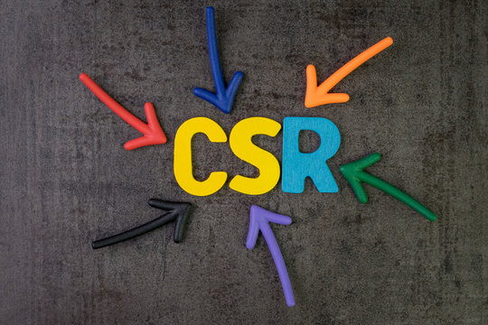 CSR, Corporate social responsibility concept, multi color arrows pointing to the abbreviation CSR at the center of black cement chalkboard wall, the activity to return profit back to people