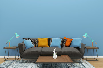 wall 3d render interior vintage living room template background copy space