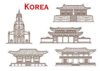 Korea architecture facades vector thin line icons
