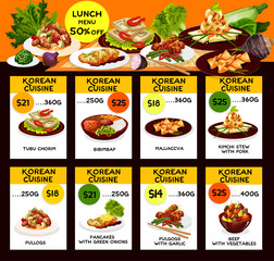 Korean cuisine kimchi and meat dishes lunch menu